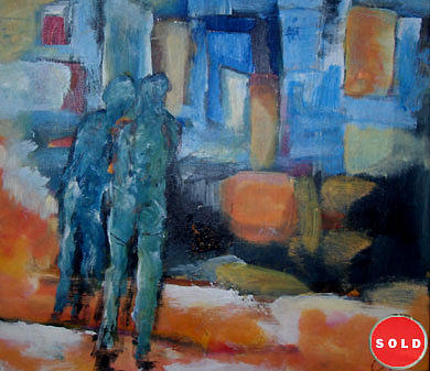 Abstract Figurative Painting - Back Togather1 by Talal  Ghadban