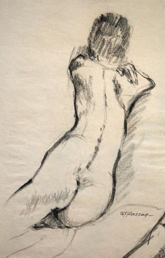 Figure Drawing Drawing - Back Torso by Ujjagar Singh Wassan