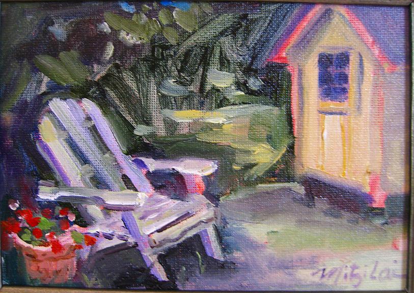 Back Yard Painting - Back Yard by Mitzi Lai