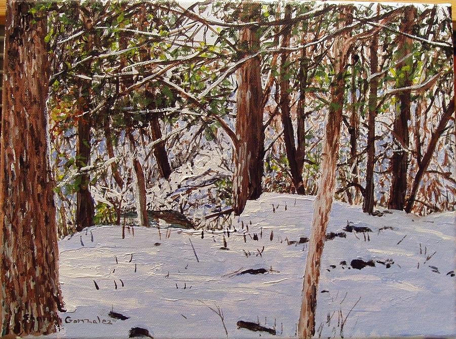 Winter Painting - Back Yard Snow by Sharon  De Vore