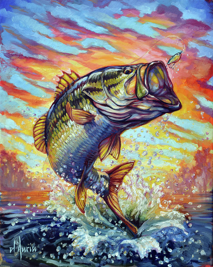 Backlit Bass Painting By Tom Dauria