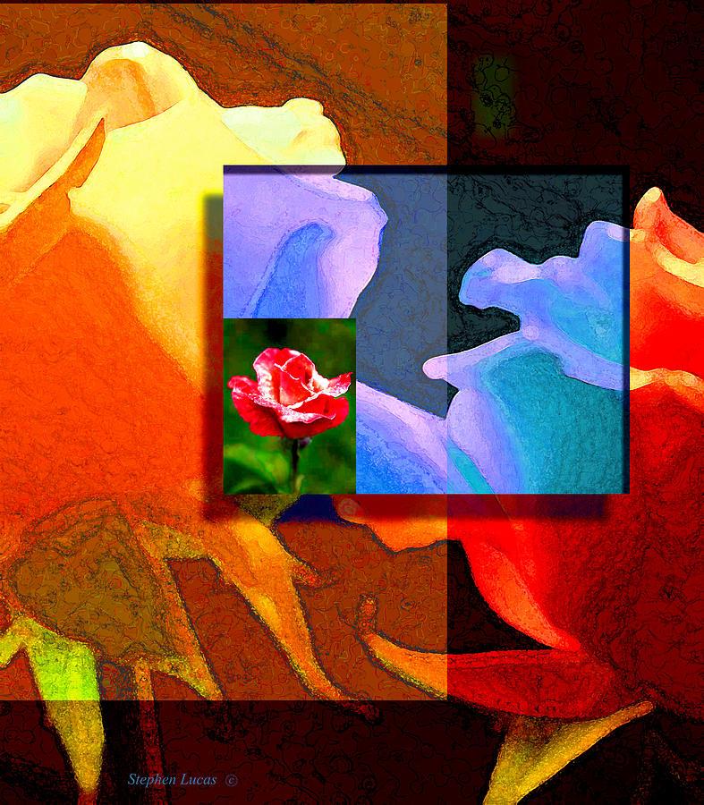 Modern Digital Art - Backlit Roses by Stephen Lucas