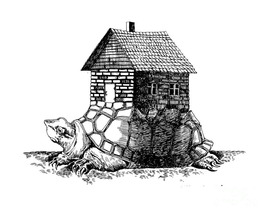 Innovation Drawing - Backpack-house by Mike Bogatyrev