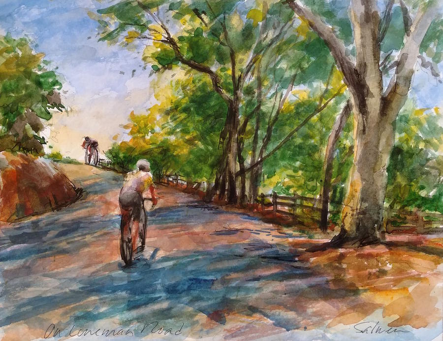 California Painting - Backwoods Pedaling by Peter Salwen