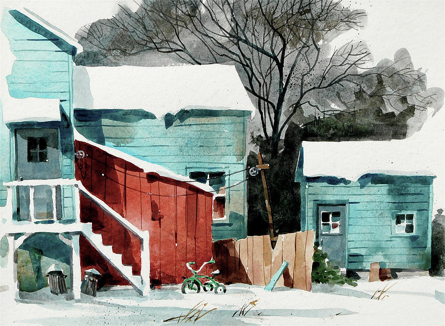 Backyard Bike Painting by Art Scholz