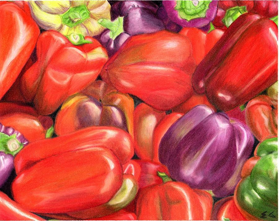 Peppers Painting - Backyard Bounty by Ekta Gupta