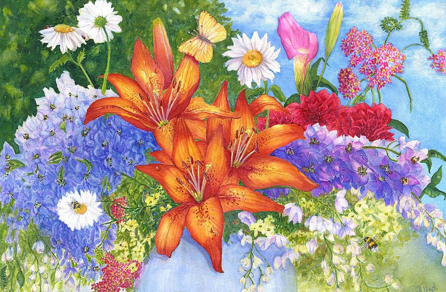 Flowers Painting - Backyard Bouquet by June Hunt