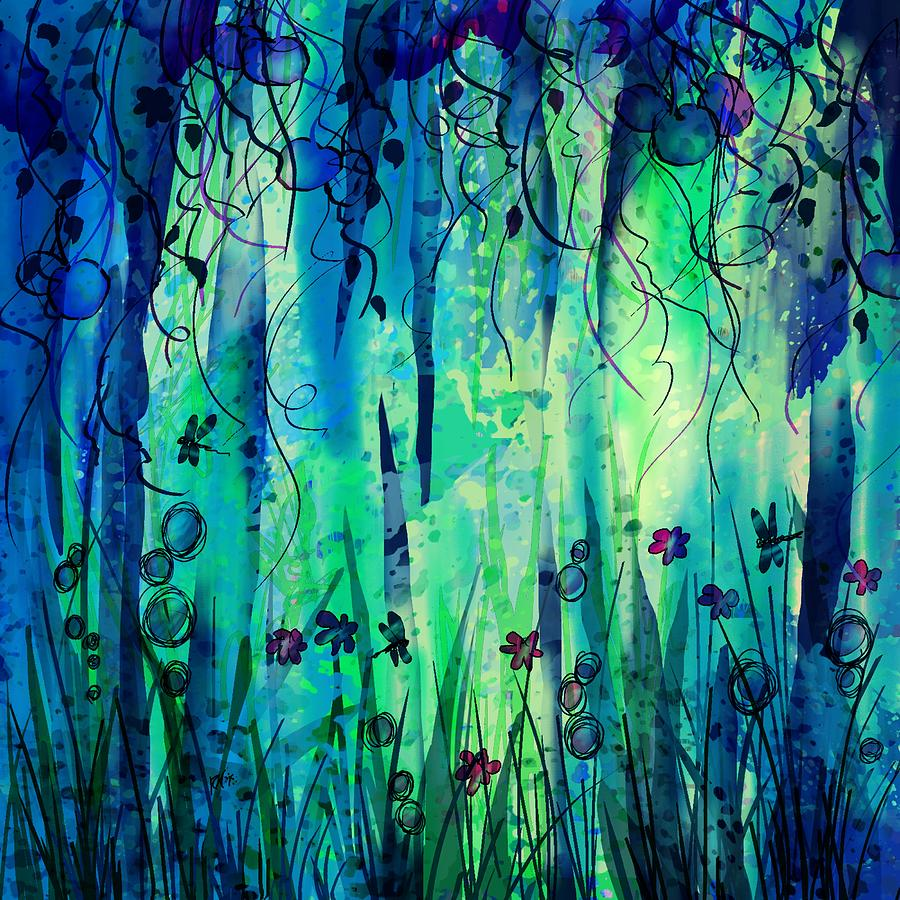 Abstract Digital Art - Backyard Dreamer by Rachel Christine Nowicki