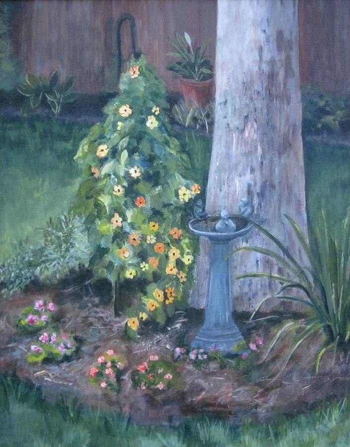 Everything In Bloom In Summertime Painting - Backyard by Paula Pagliughi