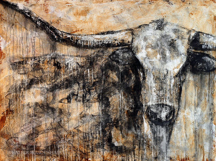 Bad attitude texas longhorn contemporary painting painting for Contemporary mural