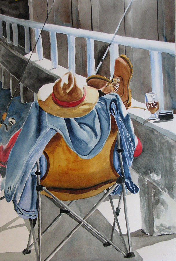 Figure Painting - Bad Day Fishing by Libby  Cagle