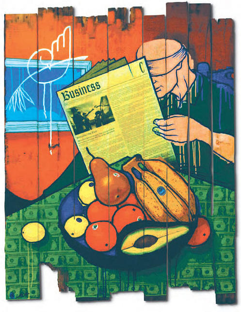 Dollar Bills Painting - Bad Fruit by Ruben  Ubiera
