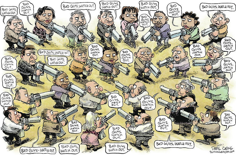 Guns Drawing - Bad Guys Watch Out by Daryl Cagle