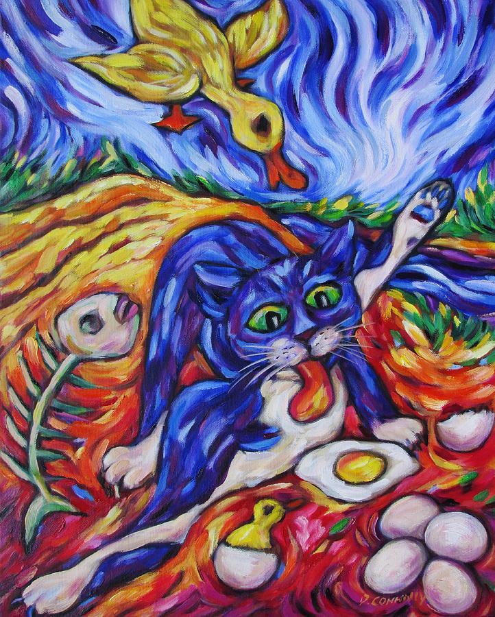 Animals Painting - Bad Kitty Gets Caught by Dianne  Connolly