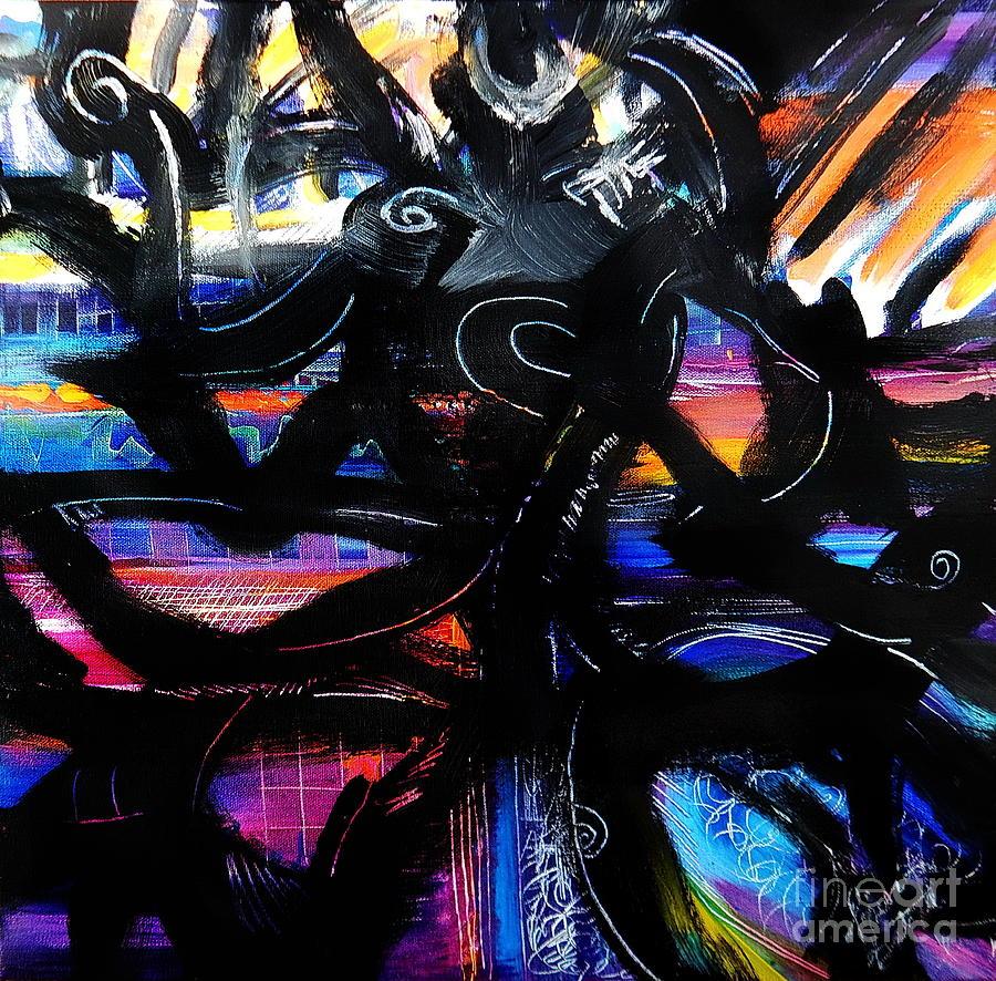 Badass Black Painting by Priscilla Batzell Expressionist Art Studio Gallery