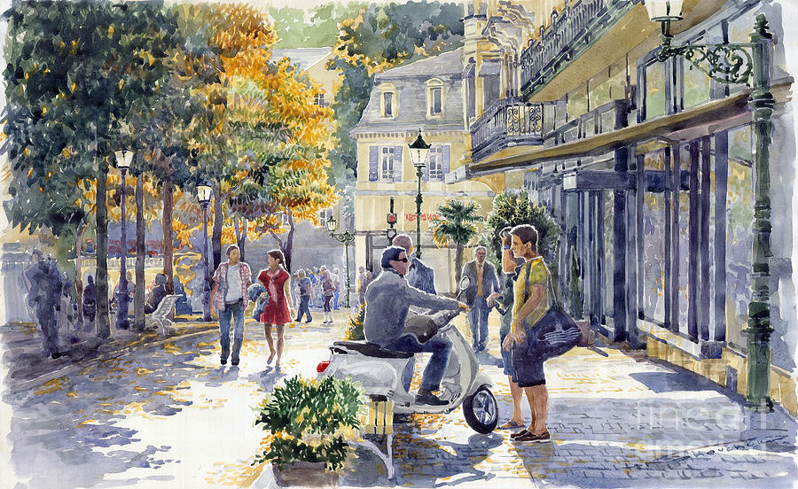 Watercolor Painting - Baden-baden Sophienstr Last Warm Day by Yuriy  Shevchuk