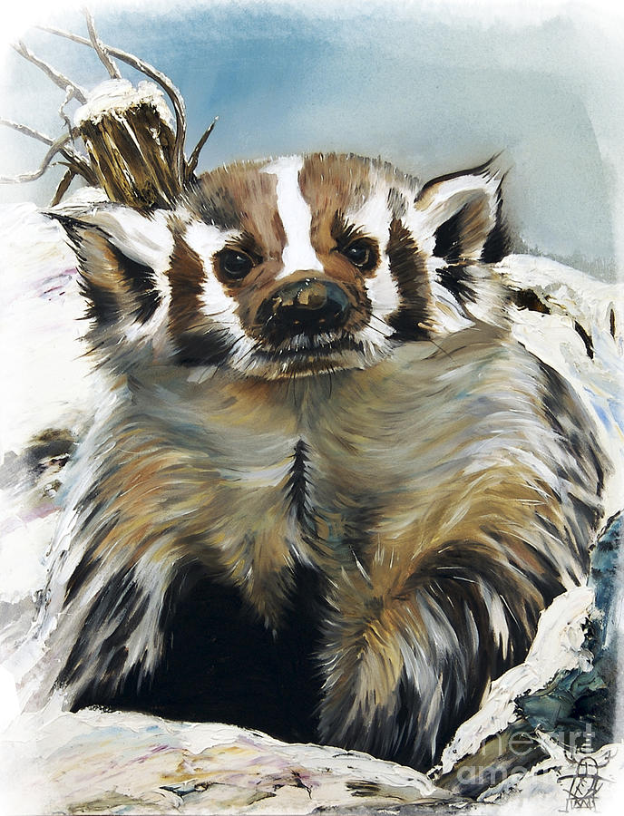 Indigenous Wildlife Painting - Badger - Guardian Of The South by J W Baker