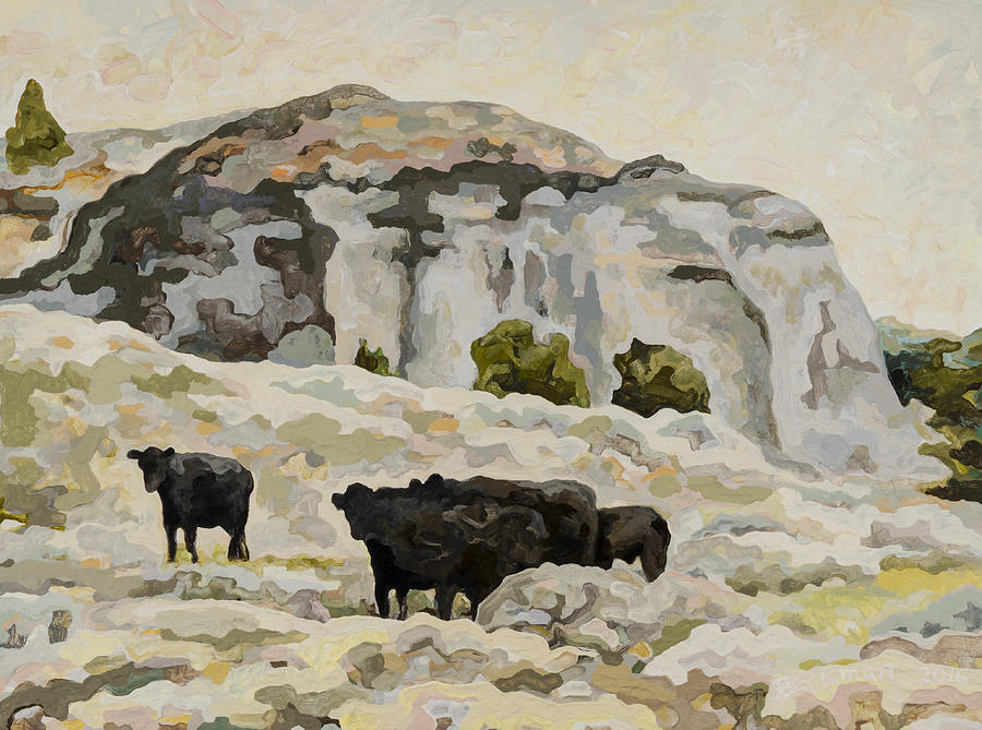 Badlands Painting - Badlands Cows #2 by Dale Beckman