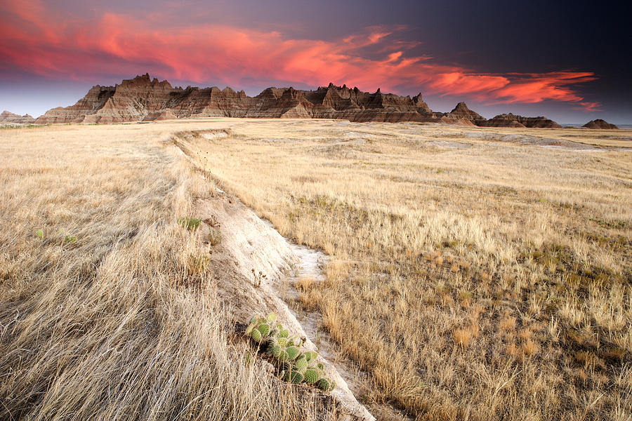 South Dakota Photograph - Badlands Sunset by Eric Foltz