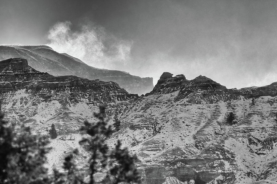 Black And White Photograph - Badlands Winter by Bill Sincavage