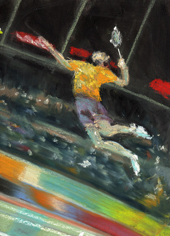 Pastels Pastel - Badminton Player by Paul Mitchell