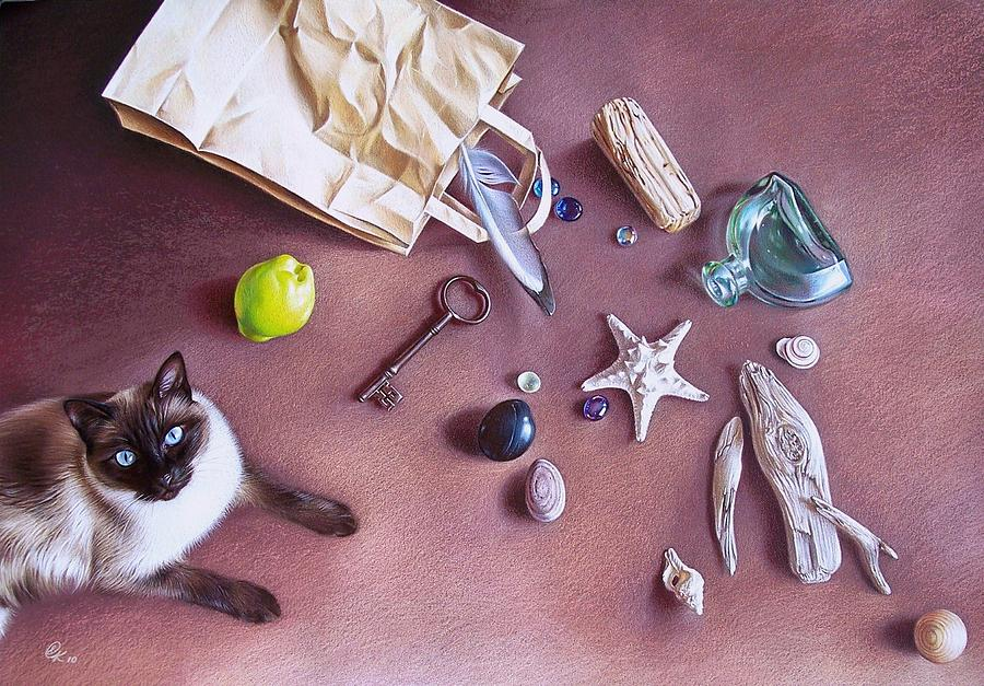 Cat Mixed Media - Bag Of Treasures by Elena Kolotusha