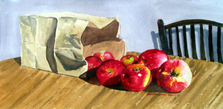 Still Life Painting - Bag With Apples by Anne Trotter Hodge