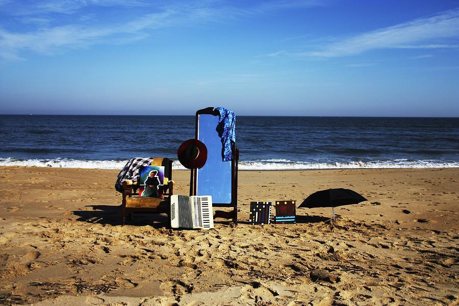 Beach Photograph - Baggage On Beach by Meg Andrews