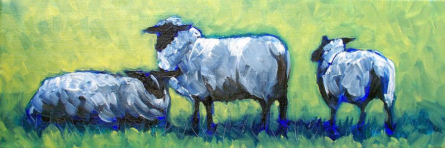 Sheep Painting - Bah Bah Bah by Sheila Tajima