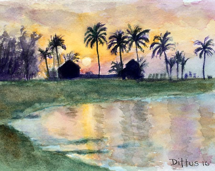 Palm Trees Painting - Bahama Palm Trees by Chrissey Dittus