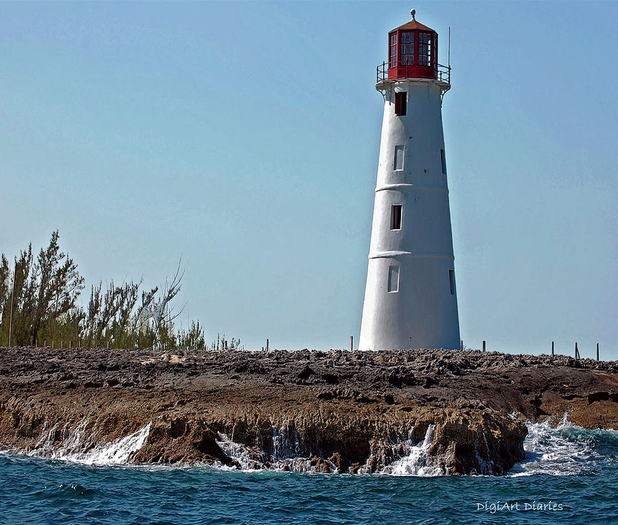 Ocean Digital Art - Bahamas Lighthouse by DigiArt Diaries by Vicky B Fuller