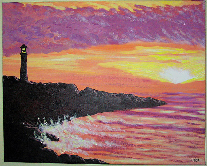 Seascape Painting - Bahia At Sunset by Marco Morales