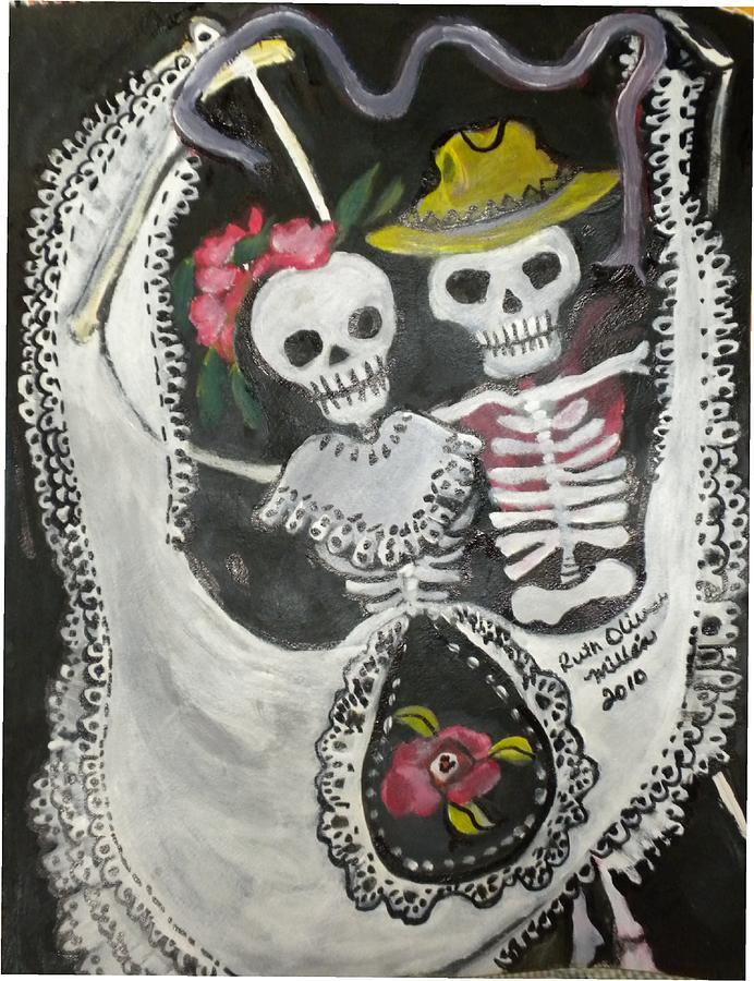 El Dia De Los Muertos Painting - Bailando The Night Away by Ruth Olivar Millan