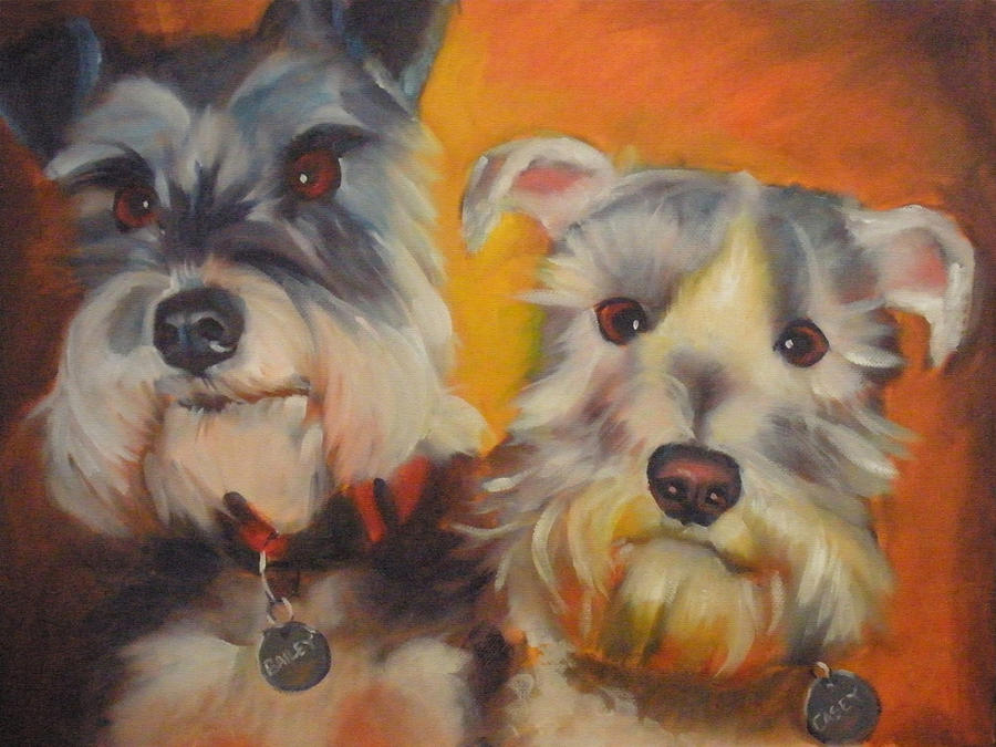 Dog Portrait Painting - Bailey And Casey by Kaytee Esser