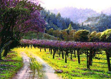 Vineyard Painting - Bailey Purple Vineyard by Paul Bailey