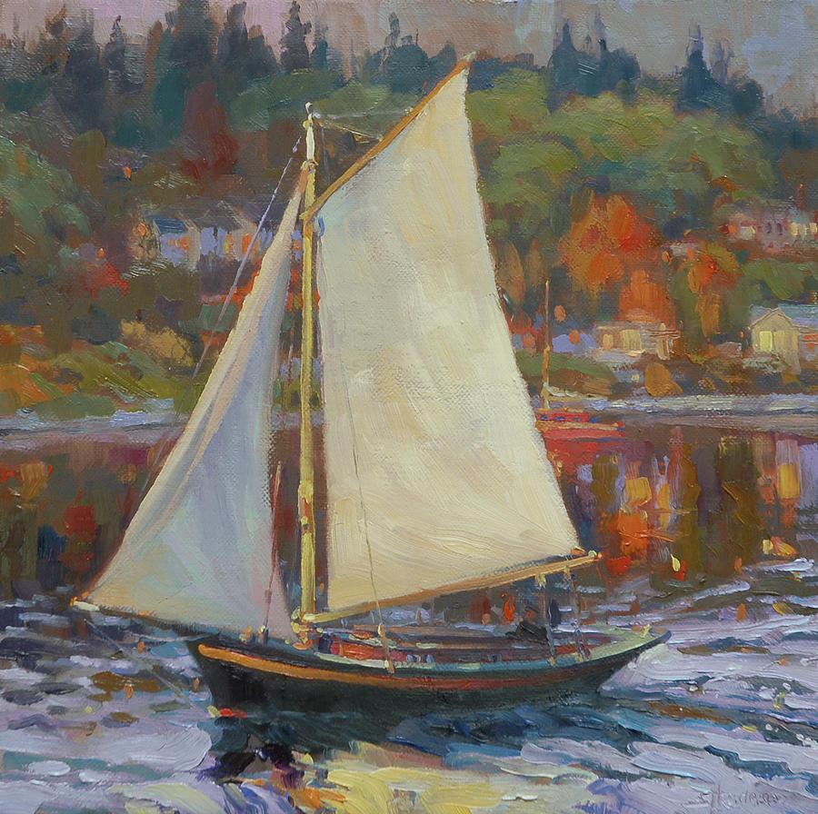 Sailboat Painting - Bainbridge Island Sail by Steve Henderson