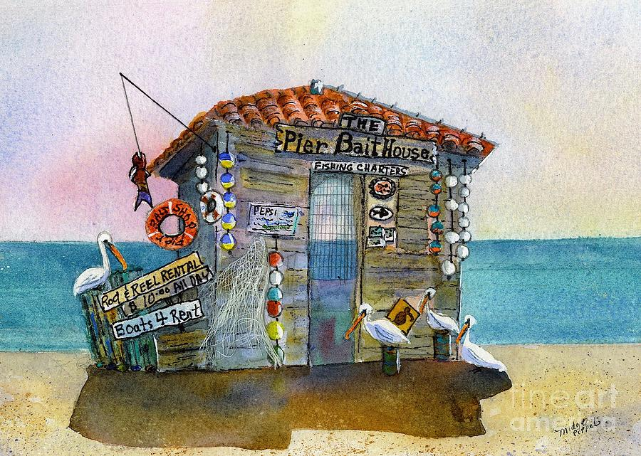 Pelicans Painting - Bait House by Midge Pippel
