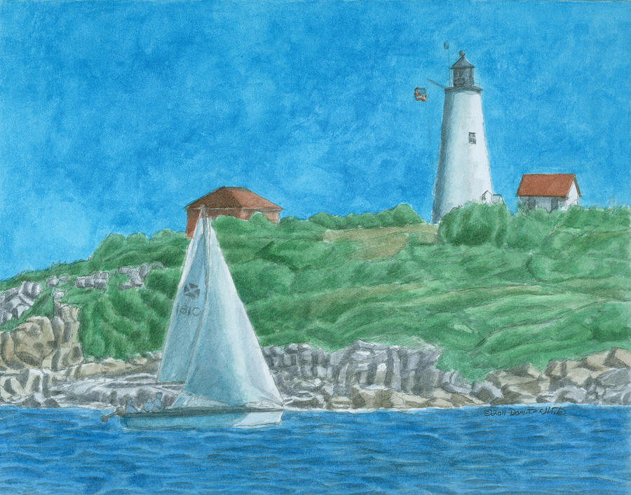 Lighthouse Painting - Bakers Island Lighthouse by Dominic White