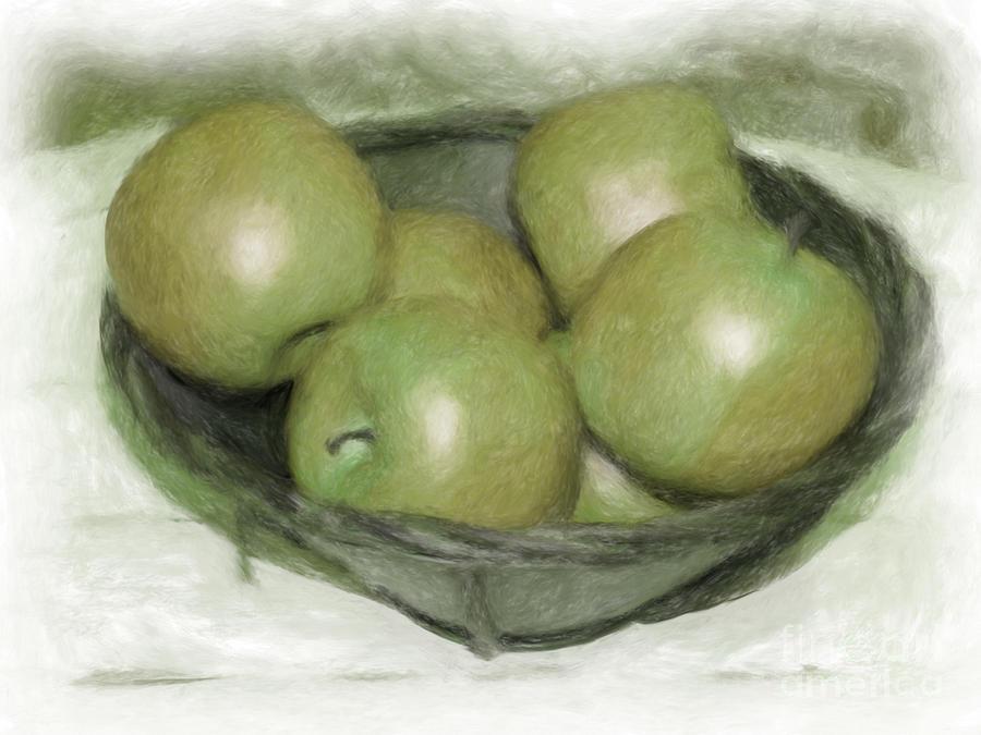 Apples Digital Art - Baking Apples Miniature by Susan  Lipschutz