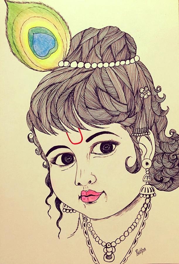 Bal Krishna -3 Drawing by Pushpa Sharma