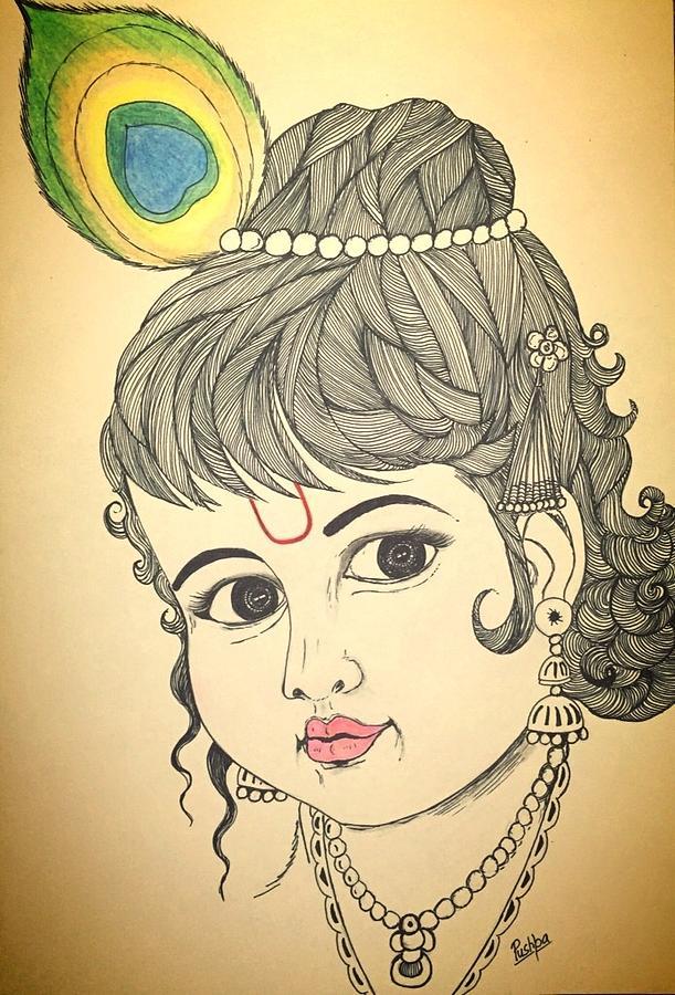 Bal Krishna Drawing by Pushpa Sharma