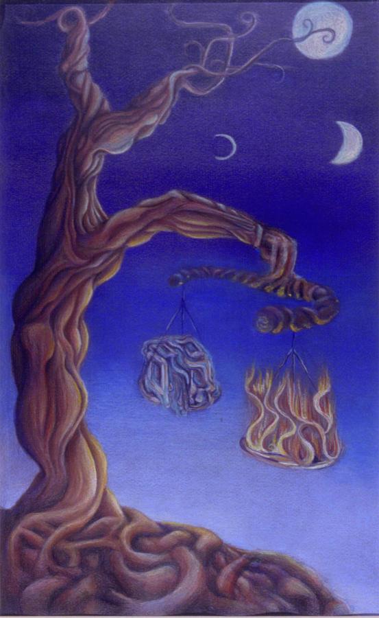 Tree Drawing - Balance Of Fire And Water by Natalia Kadish