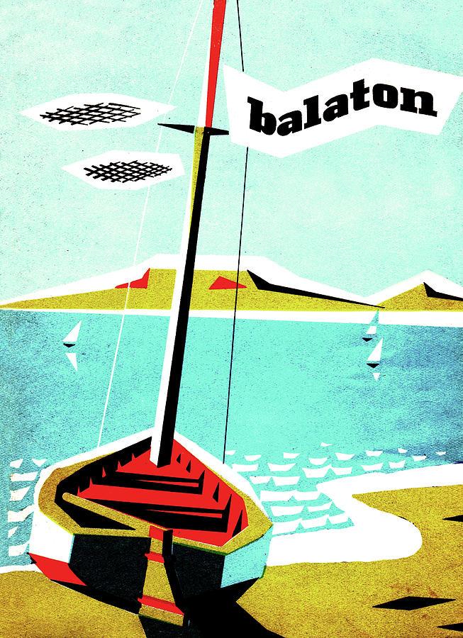 Balaton Lake Painting - Balaton Lake, Hungary, Fishing Boat On The Coast by Long Shot