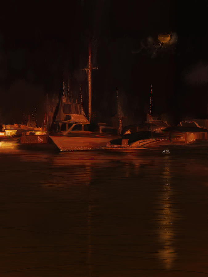 Night Painting - Balboa Island Newport Bay Night by Angela A Stanton