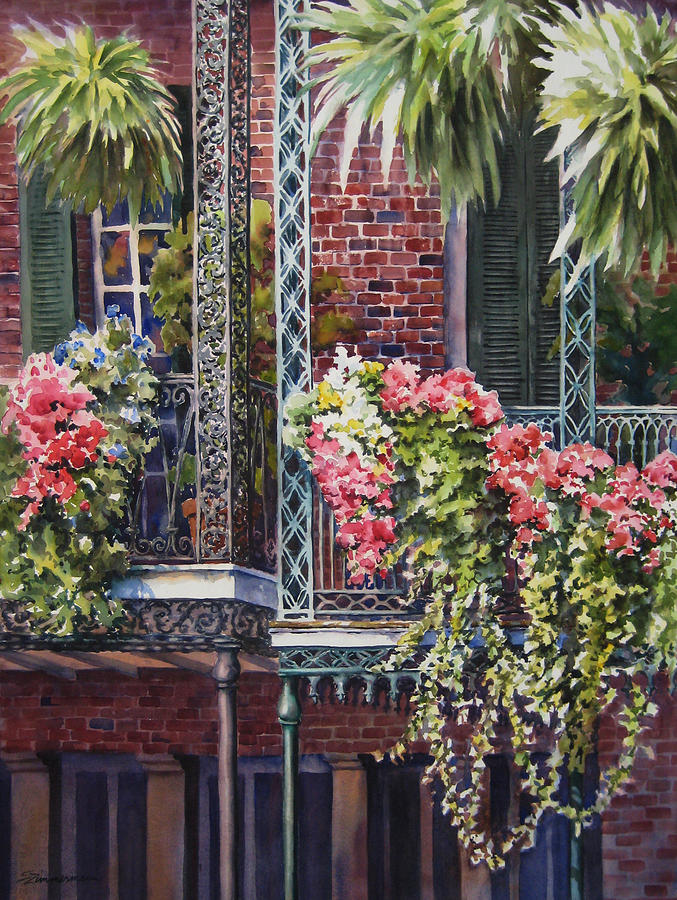 Flowers Painting - Balcony Gardens by Sue Zimmermann