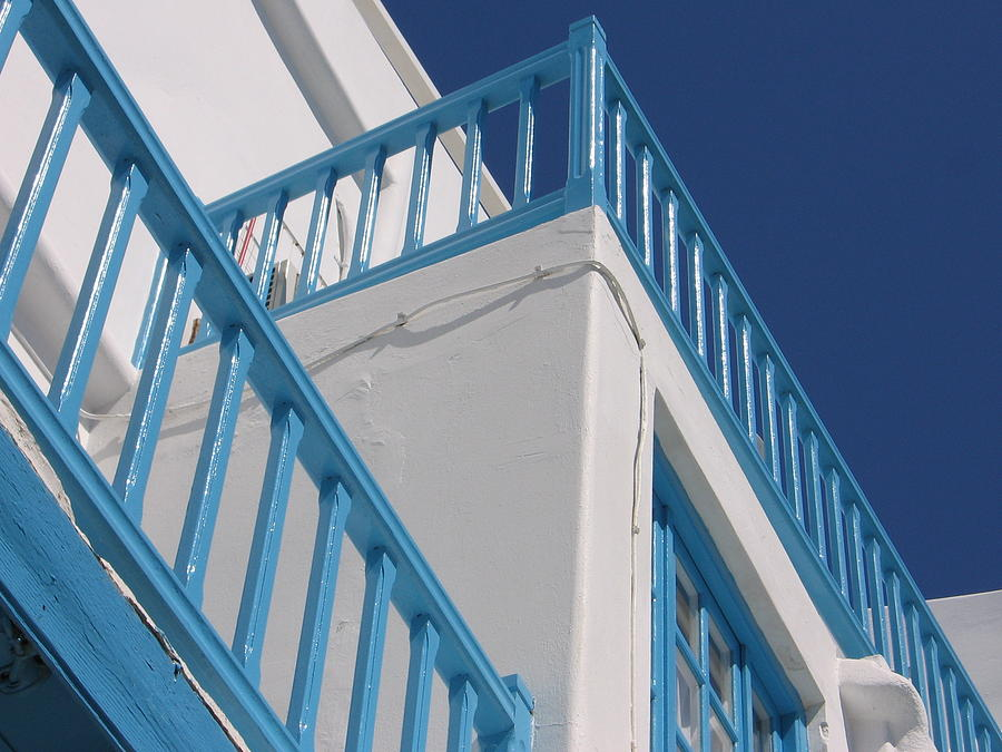 Blue And White In Mykonos by Karen J Shine