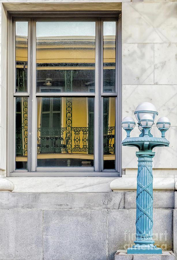 Balcony Reflection And Lamppost-nola Photograph