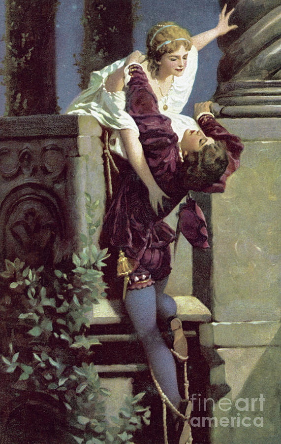 Romeo And Juliet Painting - Balcony Scene, Romeo And Juliet by English School