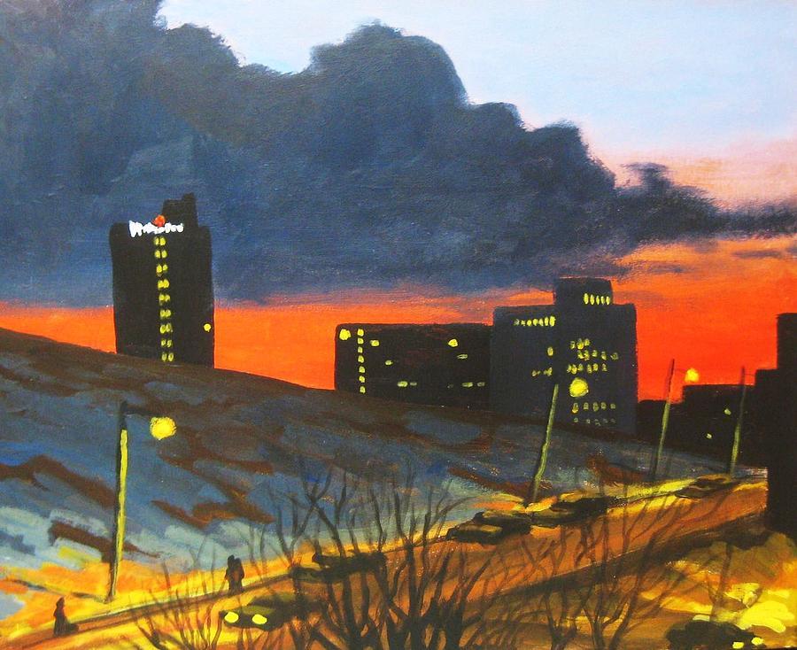 Sunset Painting - Balcony View 2 by John Malone