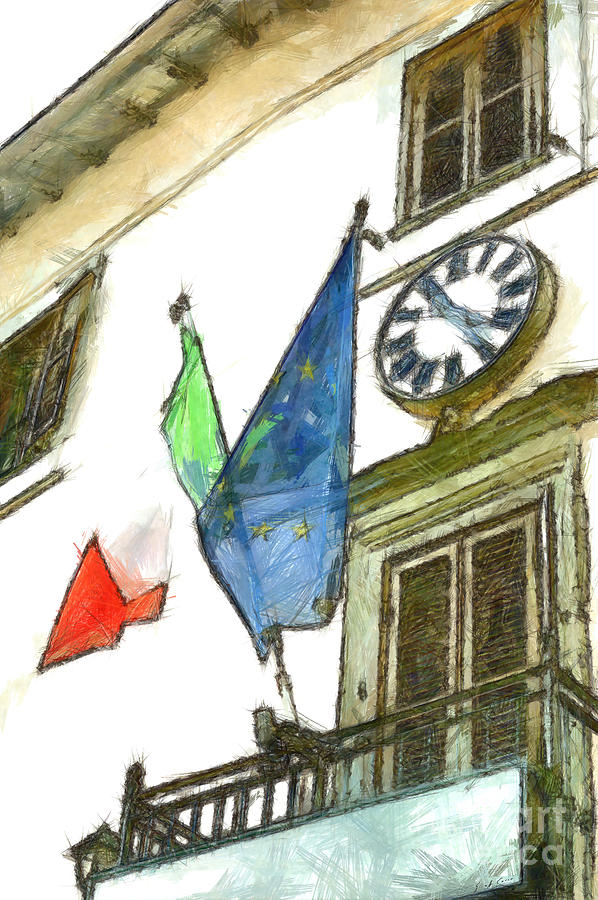 Pencil Digital Art - Balcony With Flags And Clock by Giuseppe Cocco